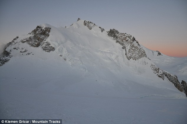 Snow slide: Experts said the avalanche was caused when one of climbers dislodged a 1ft-deep bank of snow on Mont Maudit