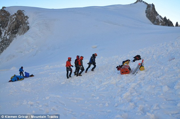 Rescue: The climbers affected by the avalanche were part of a 28-member group of experienced mountaineers