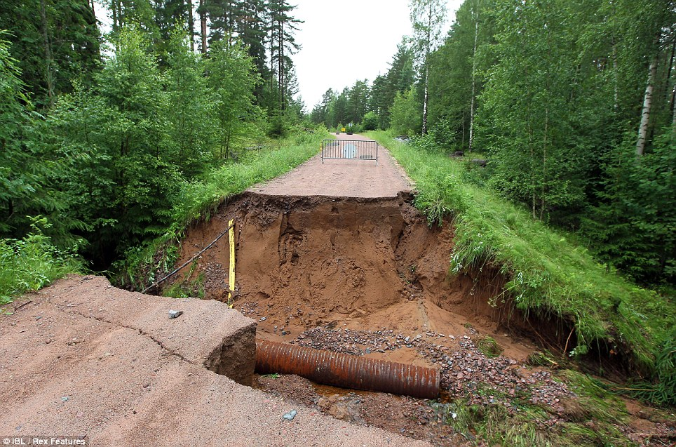 No through road: Floods have been swamping central Sweden over the last few days