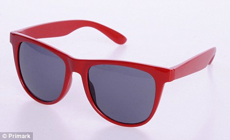 Shopper can pick up a designer look-alike at a tenth of the price of the real thing at Primark. Pictured, £1 retro sunglasses on sale at the store