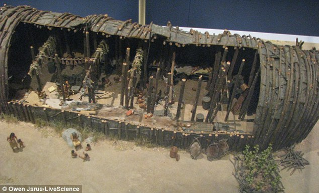 Discovered: A model representation of a longhouse from the Mantle site, displayed at the Royal Ontario Museum. Parts of the longhouses were just some of the 2,000 artifacts found on the site dating from the 1500s