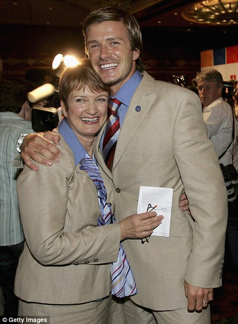 Key member of the Olympic bid team: Beckham celebrating with MP Tessa Jowell in Singapore in July 2005