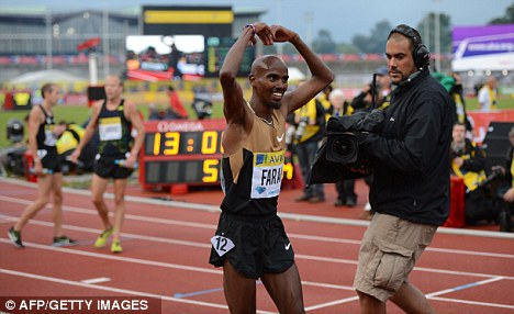Loving it: Britain's Mo Farah won the 5,000m at Crystal Palace with relative ease