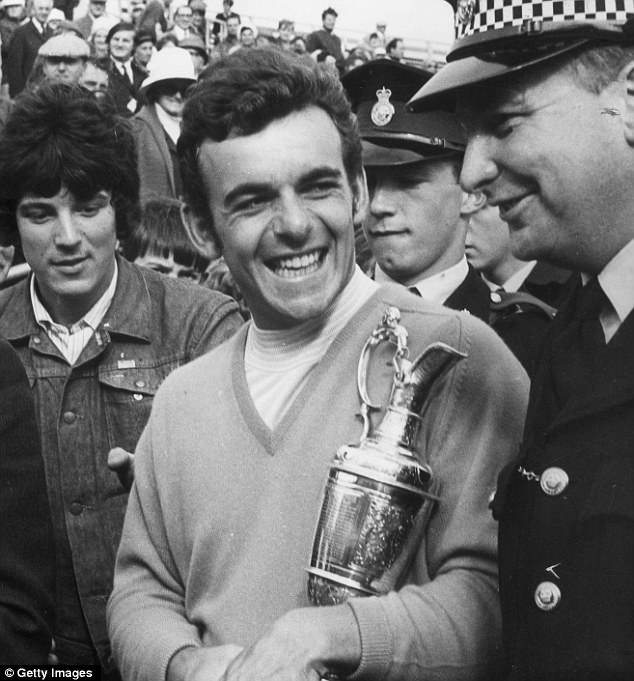 Winning smile: Jacklin receives an escort with the Claret Jug