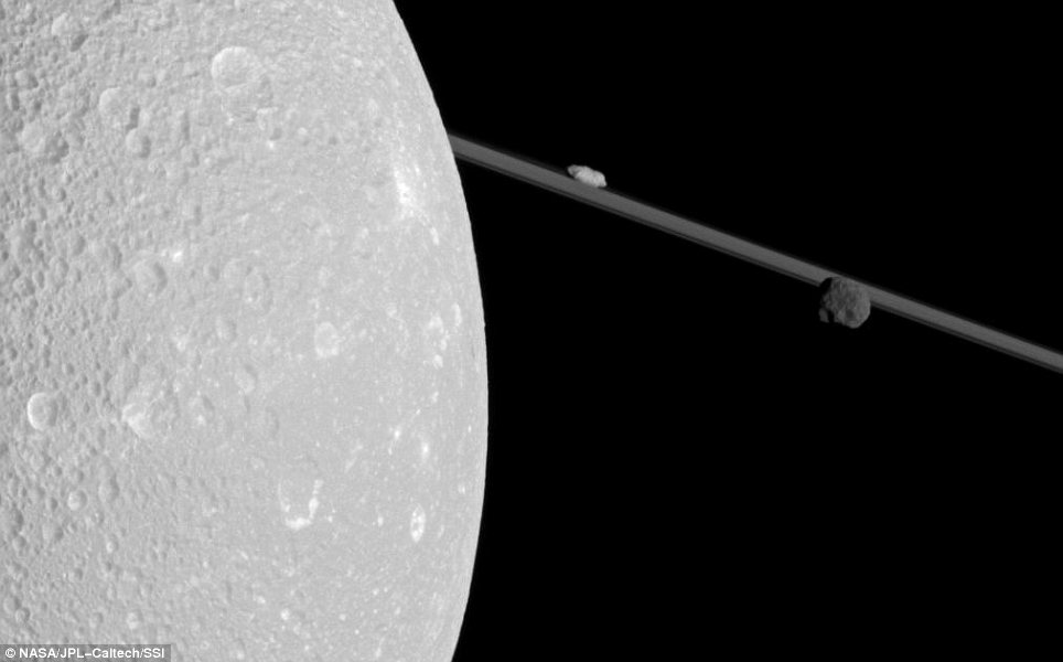 This image was released by Nasa in 2012. The image was made possible by Cassini changing its orbit for the first time in two years. Cassini is the fourth space probe to visit Saturn and the first to enter orbit