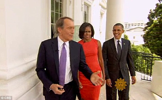 Tour: The First Couple discuss holiday plans with CBS host Charlie Rose, pictured left, at the White House