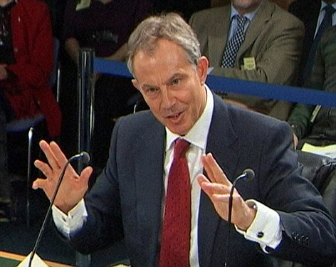 Facing questions: Tony Blair addressing the Chilcot Iraq Inquiry in January 2010.  Sir John Chilcot wants the government to release Mr Blair's private letters to President Bush