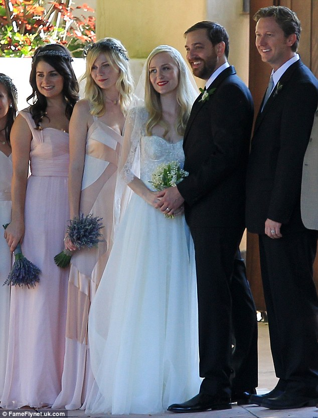 Stepped out of the spotlight: Kirsten Dunst was radiant as she performed the role of maid of honour at her best friend's wedding in Santa Barbara yesterday