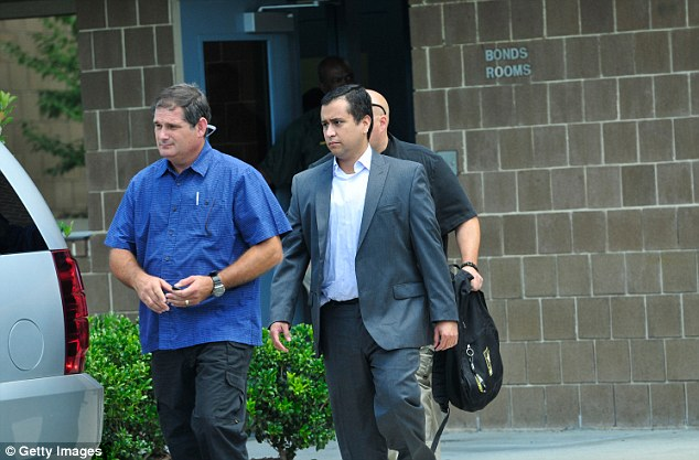 Free: Zimmerman is pictured leaving prison earlier this month after posting $1 million bail