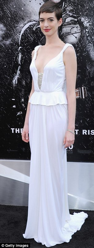 Taking the plunge: Anne shined at the New York event in a dress with a low-cut with jewelled detailing at the bust