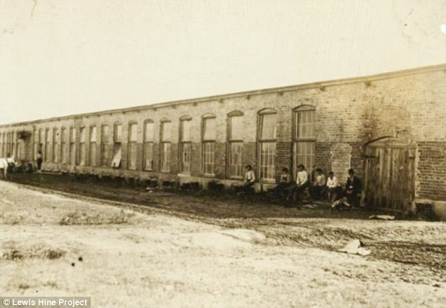 Fate: The boy, who worked at Sanders Cotton Manufacturing Co. in North Carolina, pictured, died of Spanish Flu in 1918