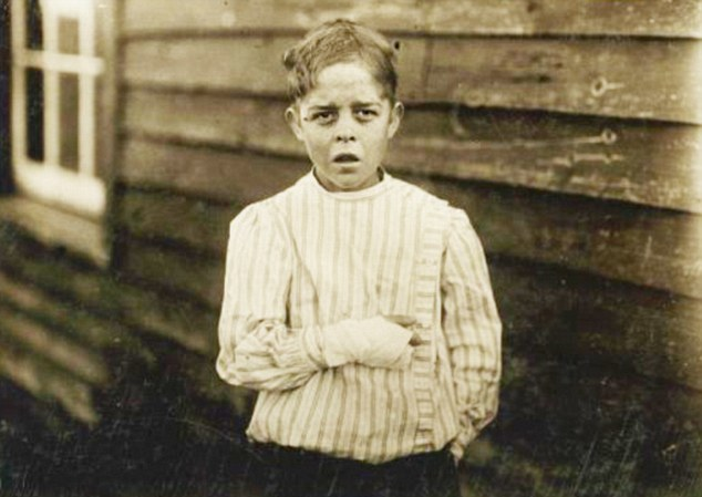 Haunting: Giles Edmund Newsom, pictured aged 11, became a poster boy for child labour in the U.S.