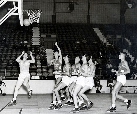 Bygone era: Basketball at the Harringay Arena during the clash between Uruguay and Brazil