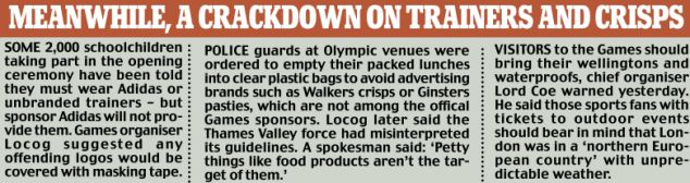 Meanwhile a crackdown on trainers and crisps