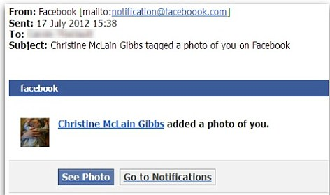 Spot the error? The email looks like a genuine Facebook 'tag' notification - except that Facebook itself is misspelt