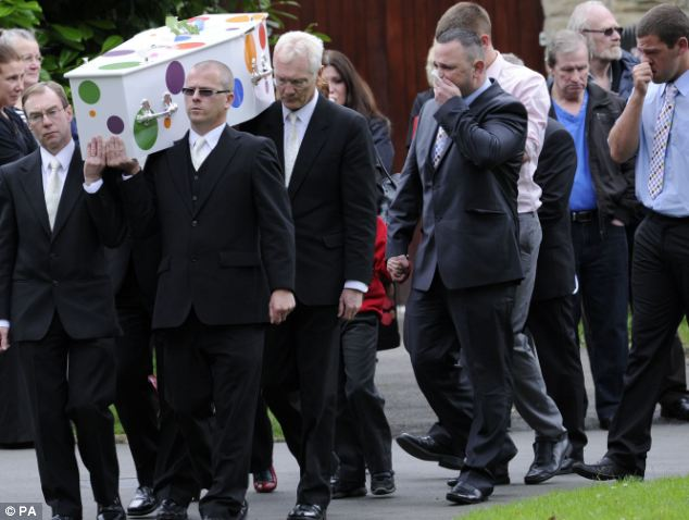 Tears: Jamie's father Kenny Heaton, (centre right), holds a tissue to his face as he arrives for the funeral of his two-year-old son at St James' Church in Shaw, Oldham