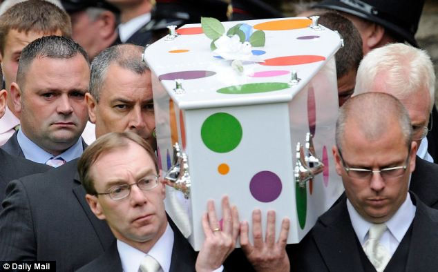 Colourful: The little coffin is painted in polka dots in red, orange, purple and green inspired by Jamie's favourite children's TV star, Mr Tumble