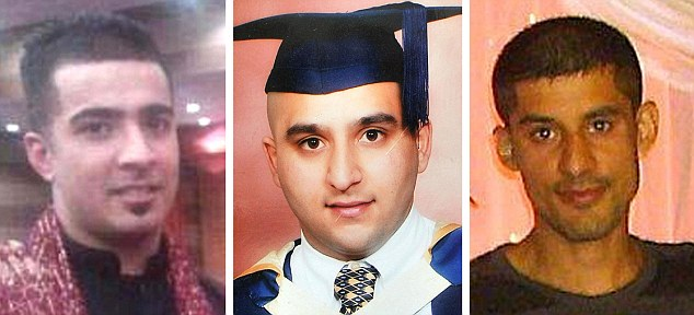 Tragedy: From left, Haroon Jahan, Shazad Ali and Abdul Musavir were knocked down and killed during last summer's riots while protecting their community from looters in Birmingham