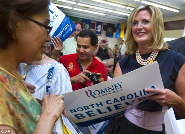 Campaigning: Mrs Romney talking to supporters in Greensboro, North Carolina on Thursday