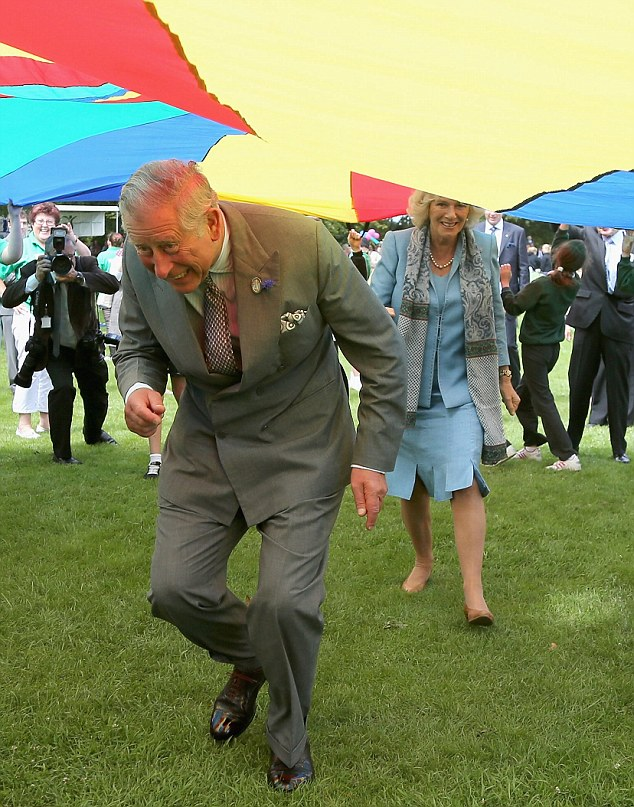 Duck: The parachute starts to descend, landing on Charles' head