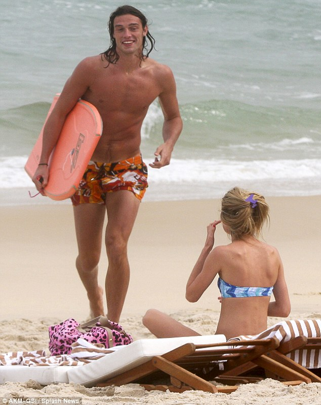 Baywatch hunk: Andy appeared to have found a new hobby while on his sunshine break