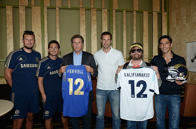 Top line up: (from left) Ross Turnbull, Frank Lampard, Will Ferrell, Petr Cech, Zach Galifianakis, Paulo Ferreira