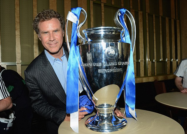 Oh hello European Cup: Ferrell with the precious trophy