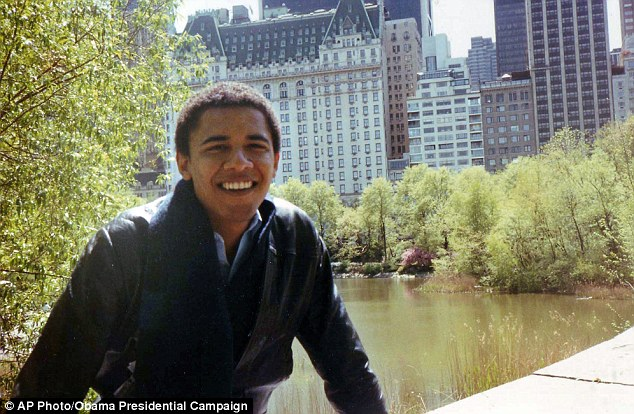 Student days: A young Barack Obama relaxes in Central Park, just a few blocks from his apartment, in New York City