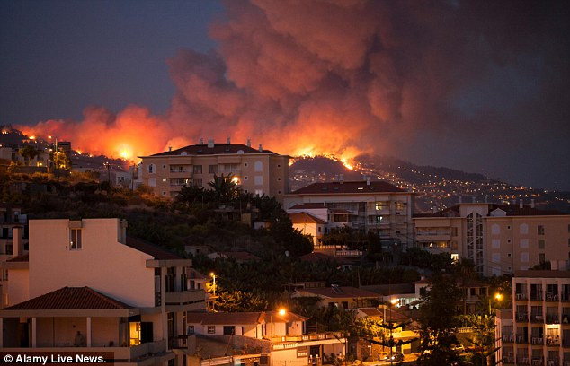 A large fire burns at dusk near a residential neighbourhood in Funchal, the largest city in Madeira, Portugal