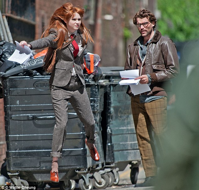 Jumping for joy: Karen was on location in Glasgow shooting new movie Not Another Happy Ending