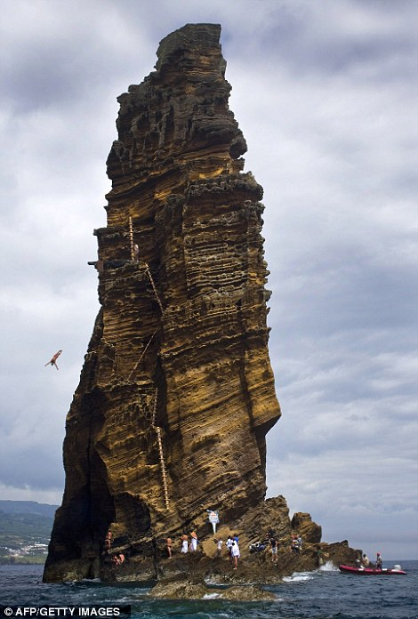 Despite the appearance of the photographs, all of the athletes at the Red Bull Cliff Diving World Series landed safely