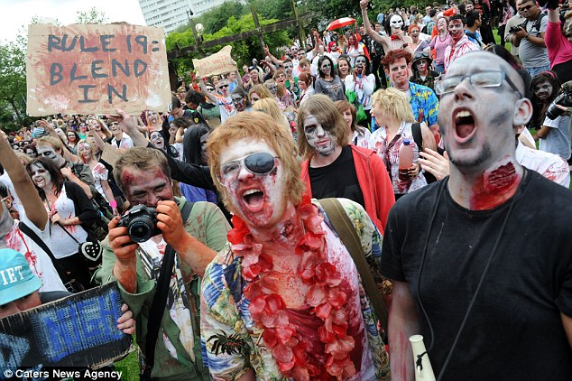 End of the world: The zombie-filled streets would have been a shock to any Sunday afternoon shoppers