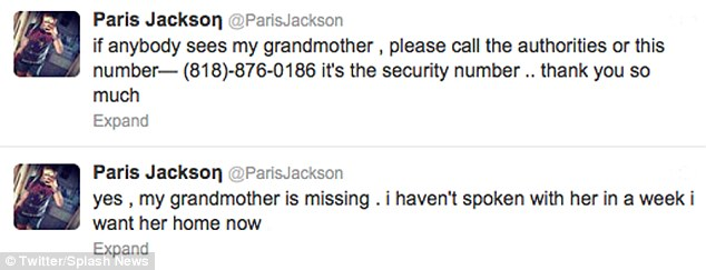 Appeal: Paris Jackson, Michael's 14-year-old daughter, tweeted her concerns for her grandmother on Sunday morning