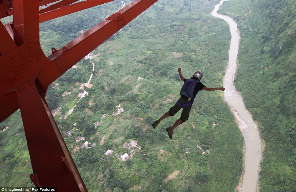 Sky's the limit: John Winkelkotter from the United States, who has won three world champions and broken eight world records was the first one to jump off the bridge