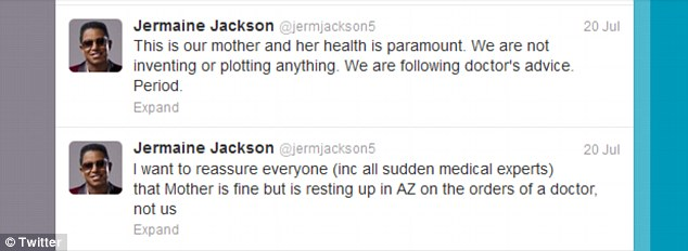 Status updates: Jermaine Jackson took to Twitter to issue statements on his mother's whereabouts through the weekend