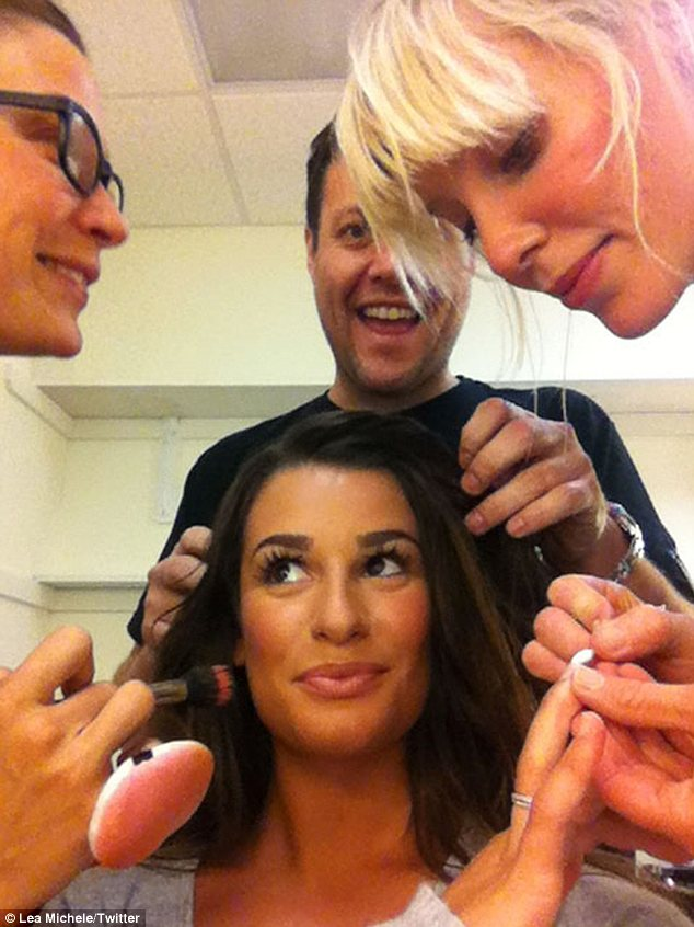 Prep team: Lea Michele tweeted a photo which showed her glamorous getting ready process