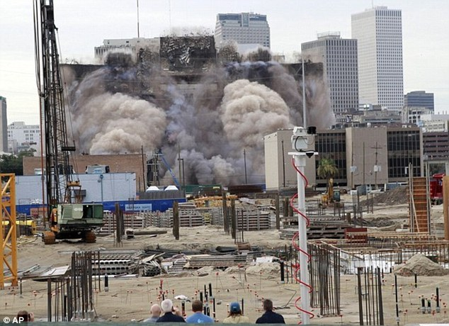 Spreading: The city closed several streets and Interstate 10 before and after the demolition that sent a massive pouring of smoke around the area