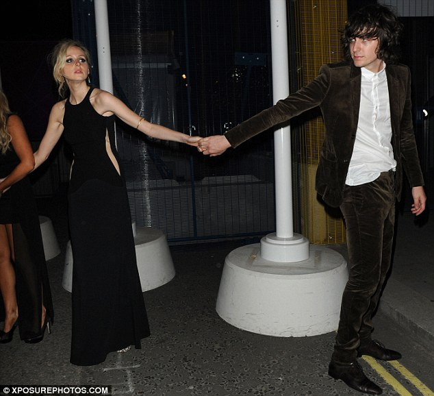 Partying with the ones you love: The former X Factor contestant was hand in hand with her boyfriend, model and musician, George Craig as she left the Mayfair hotspot