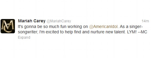 Excited: Mariah tweeted her excitement about the top job today following the big announcement