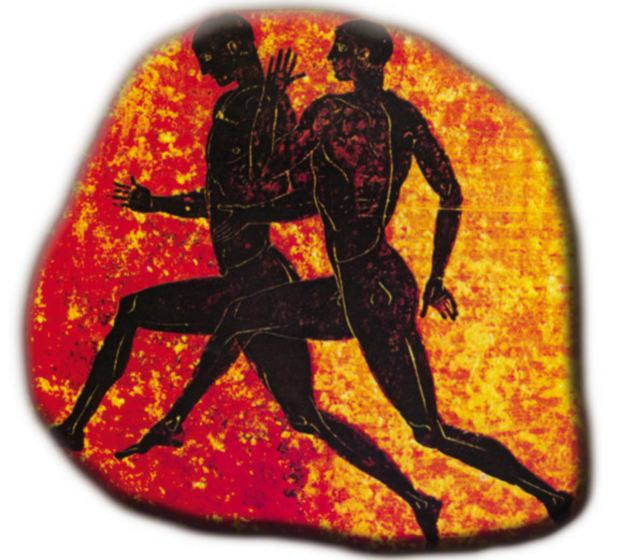 As this logo from the 2004 Games in Athens show: There were no running shorts for athletes in Ancient Greece