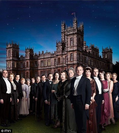 Shirley MacLaine joins the familiar faces in the Downton Abbey cast in the Season Three promo photo