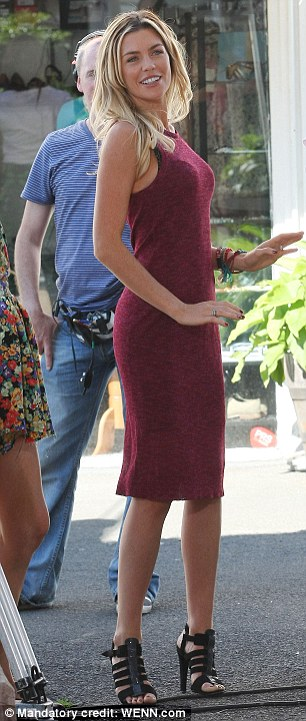 Berry nice: Abbey showed off her slim figure in a raspberry-coloured jersey dress