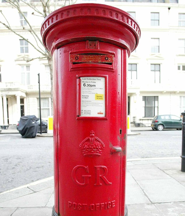 A classic red Royal Mail post box in London