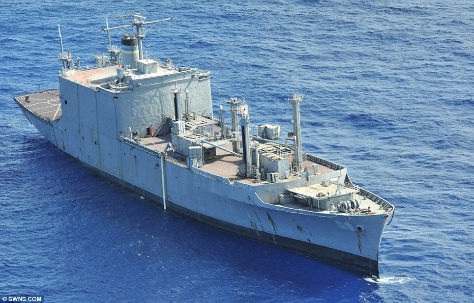 Sitting duck: Former U.S. Navy ship Kilauea, which was used as a target for a military exercise in the Pacific involving 22 nations