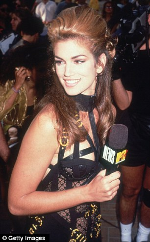Supermodel host: Cindy Crawford wearing Versace outside the MTV Music Video Awards during her coverage of the event