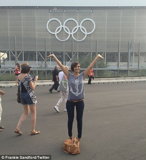 Olympic fever: The Saturdays singer Frankie Sandford arrives at the Olympic Park in Stratford, East London, for the opening ceremony rehearsal