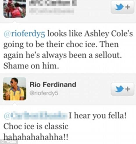 Row: Ferdinand appeared to endorse a tweet branding Ashley Cole a 'choc ice'