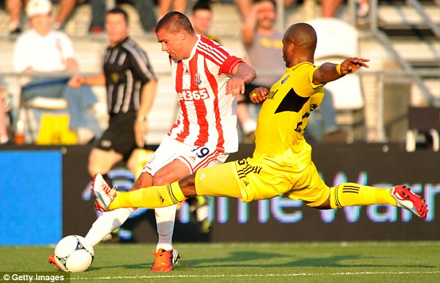 In front: Irish striker Jonathan Walters put Stoke ahead midway through the first half