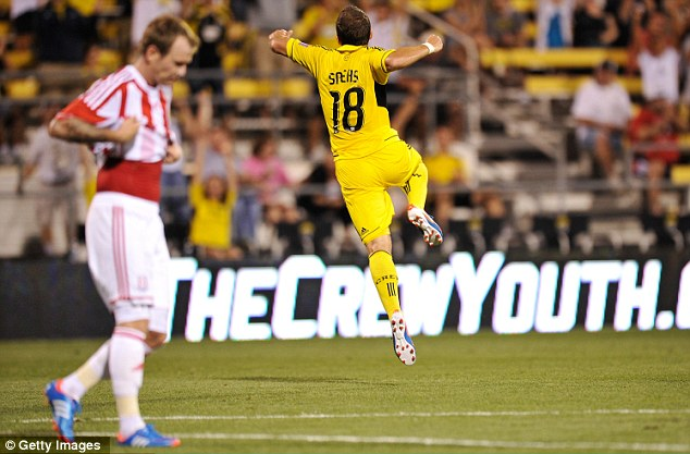 Crew cut: Ben Speas celebrates his strike to condemn Stoke to an opening game defeat in America