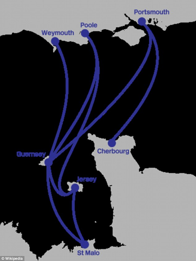 On route: The Condor ferry was on route to the Channel Islands from Poole when the hoax call came through